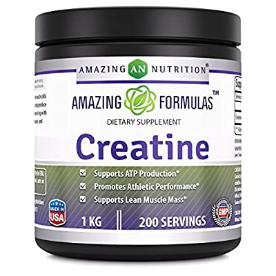 Amazing Nutrition Creatine Powder 1 KG (2.2 Lb) 200 Servings - Promotes Athletic Performance