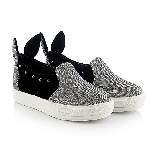 Cute to The Core Bunny Ear Women Silver Glitter Fashion Sneaker Sparkle Slip-On Cute Loafer Shoes Vacation Platform Shiny Comfy Party Outdoor Indoor Princess DolphinGirl CY00459