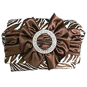 Spoiled Little Mama Brown Blue Zebra Print Diaper Bag