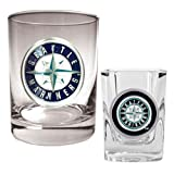 MLB Seattle Mariners Rocks Glass & Square Shot Glass Set - Primary Logo Amazon.com