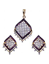 Alluring Cubic Zircon & Tourmaline Stone Studded Pendant & Earrings Set