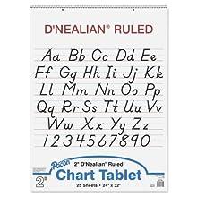 "D'Nealian Chart Tablet, 24""X32"", Manuscript, 25 Sheets"