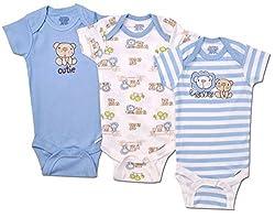 Gerber Baby Boys 3 Pack Bear Short Sleeve Onesies (3-6 Months)