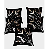 FabLooms Black N Silver Designer Cushion Covers - Set of 5 (40.64 x 40.64 CM)