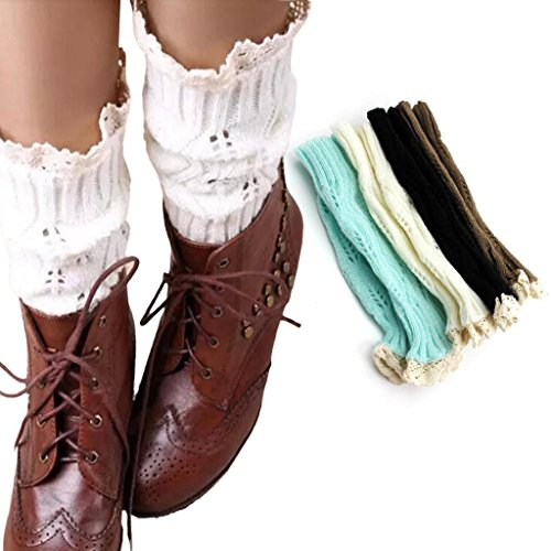 White Short Knitted Lace Crochet Boot Top Cuffs Cover Women Socks