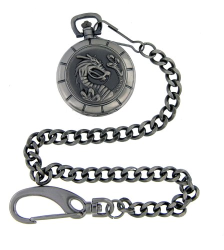 Nemesis Dragon Gunmetal Pocket Watch with Chain