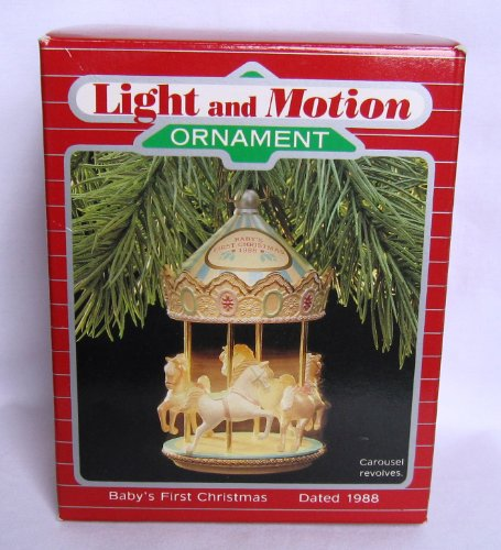 Hallmark Baby's First Christmas 1988 Light and Motion Carousel - 1