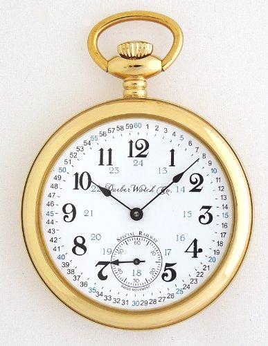 Женские карманные часы Dueber Special Railway Swiss Mechanical Pocket Watch, High Polish Gold Open Face Case, Assembled in USA!