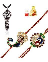 Mahi Combo Of Splendid 'Bhaiya Bhabhi' Rakhis And Lord Hanuman Silver Plated Pendant CO1104308M