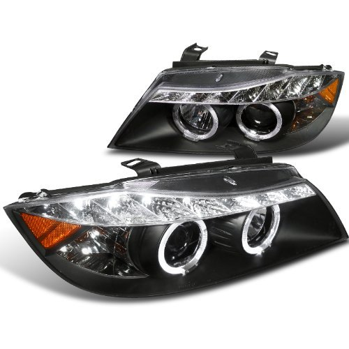 Spec-D Tuning 2LHP-E9005JM-8-TM Bmw E90 3-Series 4Dr Led Dual Halo Black Projector Head Lights (Bmw 325i Headlights compare prices)