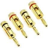 deleyCON 4x Bananenstecker / Adapter für Lautsprecherkabel bis 5,5mm - Stereo Set (4 Stück) - für 2 Boxen