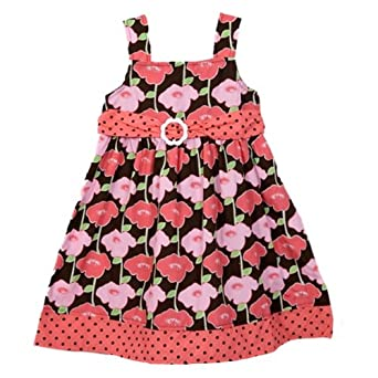 Sugah and Honey Toddler Girls (2t-4t) pink and black floral print sundress