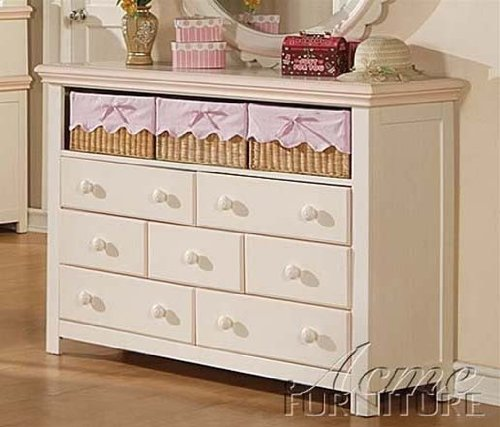 Dresser with Three Baskets in Cream Finish
