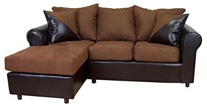 Tim 2-Pc Sectional Sofa in Mission Cinnamon Fabric