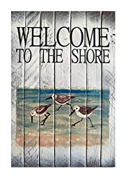 Coastal Wall Art - Sandpiper Welcome Sign - Nautical Wooden Slat Sign