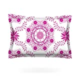 "Kess InHouse Anneline Sophia ""Let's Dance Fuchsia"" Pink Floral Cotton Pillow Sham, 40 by 20-Inch"