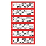 Jumbo Bingo Ticket Singles, 6 to View Pad, Red
