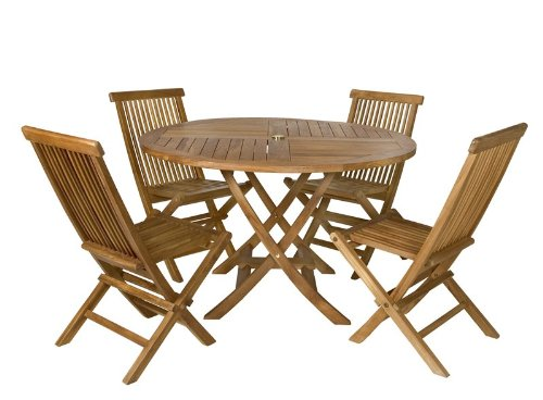 5pcs Java Teak Outdoor Patio Folding Table and Chairs Set