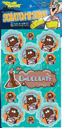 Dr Stinky's Chocolate Scratch-n-Sniff Stickers, 2 sheets 4 x 6 3/4, 26 stickers - 1