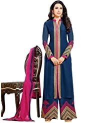 Suchi Fashion Heavy Embroidery Dark Blue And Pink Faux Georgette Semi Stitched Party Wear Straight Fit Suit