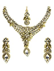 Shining Diva Kundan Necklace Set With Maang Tika For Women