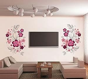Decals Design 'Flowers with Vine' Wall Sticker (PVC Vinyl, 60 cm x 90 cm)