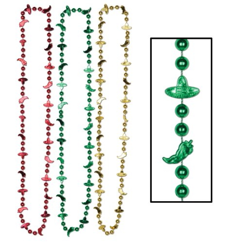 Fiesta Beads (asstd red, gold, green) Party Accessory  (1 count) (6/Card)