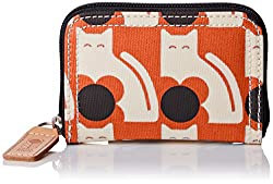 Orla Kiely Poppy Cat Print Medium Zip Wallet, Persimmon, One Size