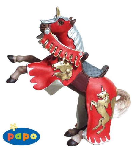 Reared Up Horse with Unicorn Red