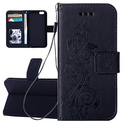 "Custodia iPhone 6 - Cover iPhone 6S - ISAKEN Accessories Cover in PU Pelle Portafoglio Tinta Unita Custodia, Elegante Embossed Vines Pattern Design in Sintetica Ecopelle Libro Bookstyle Wallet Flip Portafoglio Case Cover Anti Slip Case Copertura Protezione Antiurto con Supporto di Stand / Strap / Carte Slot / Chiusura Ventosa per Apple iPhone 6 (4.7""), Vines: nero"