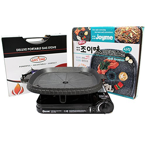 GAS ONE GS-3700 Portable Gas Stove with [Non-Stick Marble Coated Smoke Less Grill] and Carrying Case, 10,000 BTU, CSA Approved, Black (Soup Can Trap compare prices)