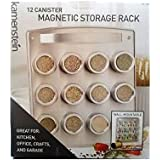 Kamenstein 12 Canister Magnetic Storage Rack Wall Mountable For Kitchen, Office, Crafts & Garage
