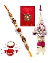 Ethnic Rakhi Designer Colorful Floral Pattern Fashionable And Stylish Bhaiya Bhabhi Mauli Thread And Beads Rakhi... - B01IIMET9Y