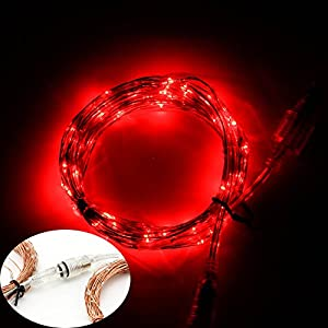 Red String Lights For Bedroom : Amazon.com: BZONE Combinable String Lights on Copper Wire - 100 Red LED - 33 Feet Long - You Can ...