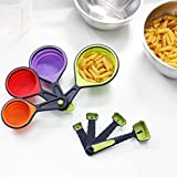 8 Pieces Silicone Measuring Cup And Spoon Set - Includes 4 Silicone Measuring Cups And 4 Measuring Spoons