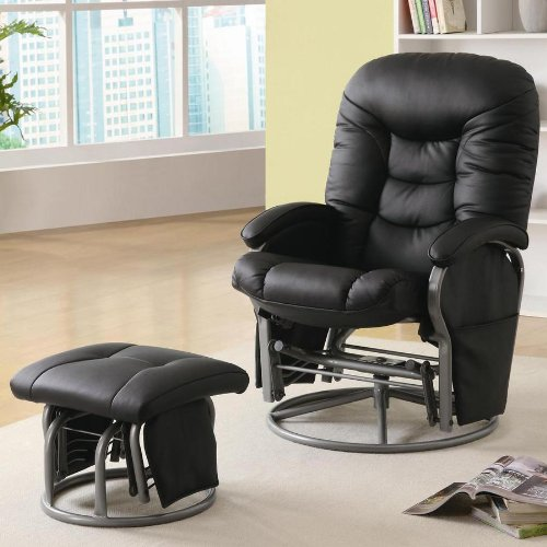 Coaster Swivel Glider Recliner & Ottoman - Black Leatherette front-959034
