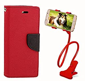 Aart Fancy Diary Card Wallet Flip Case Back Cover For Samsung G750 - (Red) + 360 Rotating Bed Tablet Moblie Phone Holder Universal Car Holder Stand Lazy Bed Desktop for by Aart store.