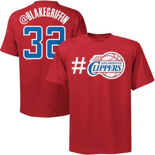 NBA Majestic Blake Griffin Los Angeles Clippers #32 Twitter T-Shirt – Red (Small)