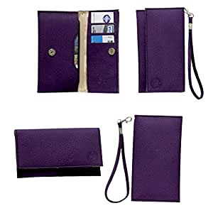 Jo Jo A5 G8 Leather Wallet Universal Pouch Cover Case For Spice D5555 Purple