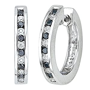Channel Set Black and White Diamond Huggie Earrings in 10K White Gold (1/4 cttw)