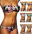 ALZORA Push Up Bandeau Twist Bikini Set Damen Pushup Badeanzug viele bunte Farben und Größen Top + Hose Set , 50001