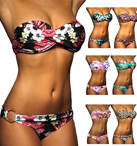 ALZORA-Push-Up-Bandeau-Twist-Bikini-Set-Damen-Pushup-Badeanzug-viele-bunte-Farben-und-Gren-Top-Hose-Set-50001