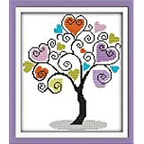 Full Range of Embroidery Starter Kits Cross Stitch Kits Beginners for DIY Embroidery with 40 Pattern Designs - Giving Tree (Color: Giving tree)