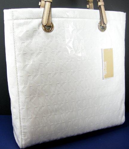 Michael Kors Mk Logo Purse Xl Tote Genuine White Leather Jet Set Mirror Metallic Bag