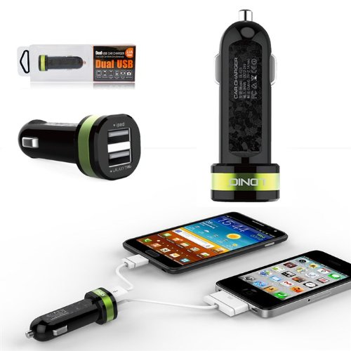 First2Savvv Green Dl-C21 Dual Usb Port In Car Charger Travel Charger Power Supply For Lg Nexus 5 D821 Optimus L7 Ii P710 & Samsung Galaxy S4 Mini Gt I9195 Galaxy S4 Active