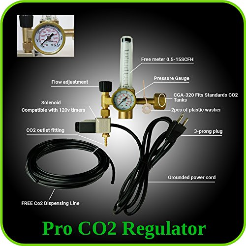 Hydroponics (Co2) Regulator Emitter System with Solenoid Valve Accurate and Easy to Adjust Flow Meter Made of High Quality Brass - Shorten up and Double Your Time for Harvesting! (Aeroponics Timer compare prices)