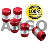 RED CHROME VALVE DUST TYRE WHEEL CAPS NISSAN SKYLINE