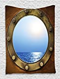 Ship Porthole Nautical Sailor Pirate Ocean View Coastal Marine Maritime Rustic Wooden Decor Digital Printed Tapestry Wall Hanging Wall Tapestry Living Room Bedroom Dorm Decor