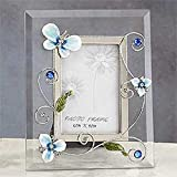 StealStreet SS-A-63454 Butterfly Decoration Picture Frame, Clear Blue