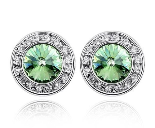 14k White Gold GP Swarovski Crystal Simulated Emerald Stud Earrings